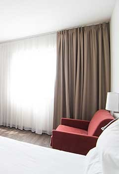 Ceiling Blackout Curtains For Lake Side Guestroom